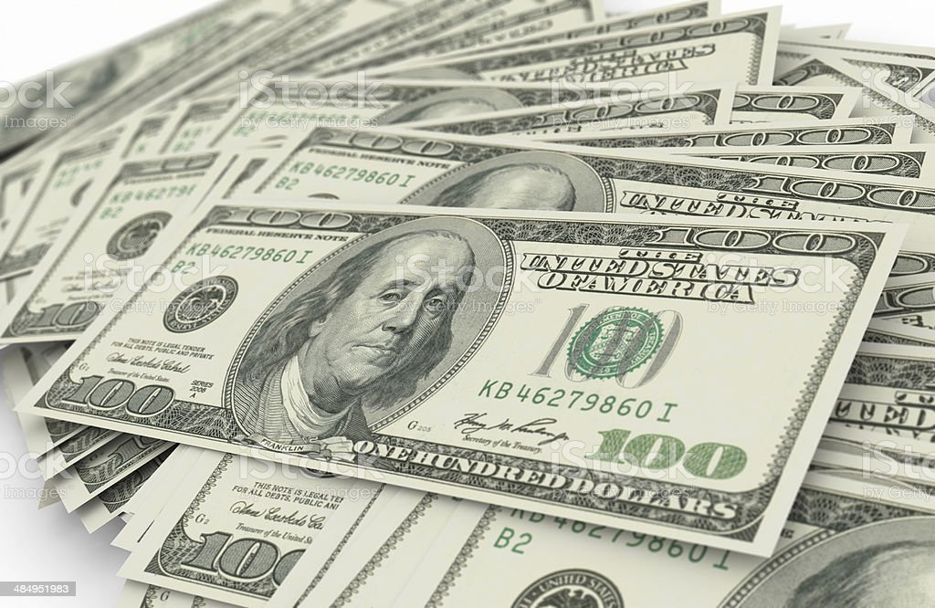 One hundred dollar bills royalty-free stock photo