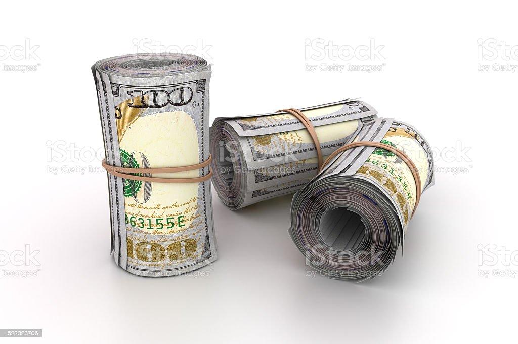 One Hundred Dollar Bills Rolls stock photo
