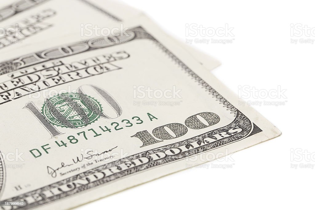 One hundred dollar greenbacks. stock photo