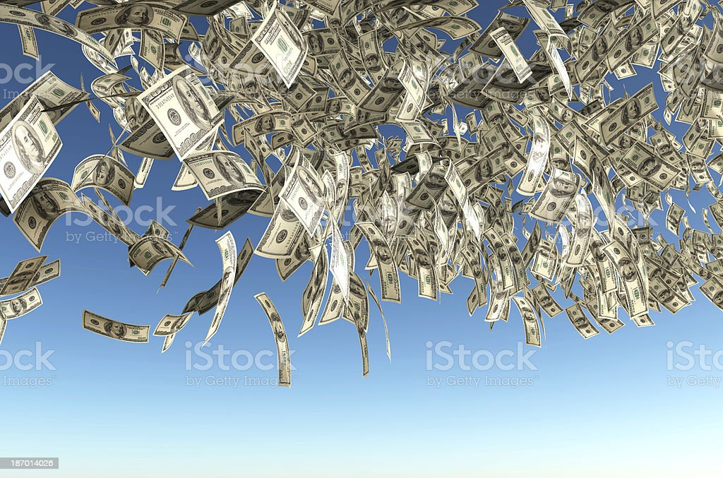 one hundred dollars banknote rain stock photo