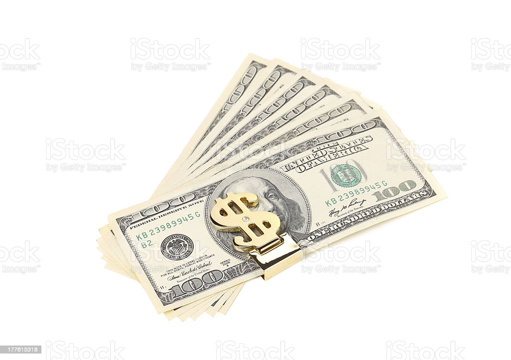 One hundred dollars banknotes in money clip stock photo