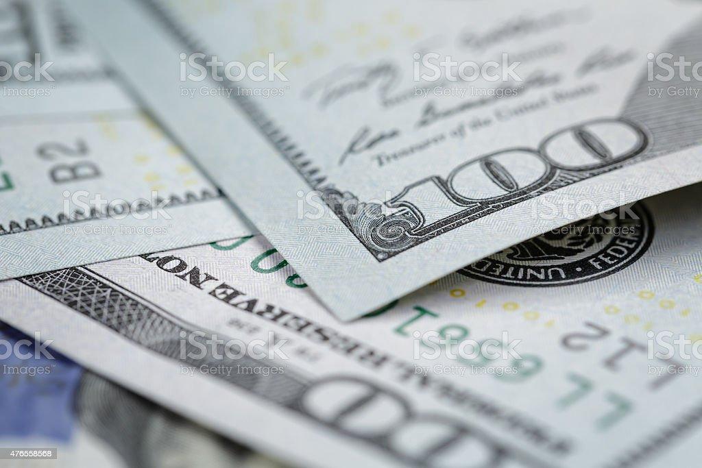 One hundred dollars bills macro stock photo