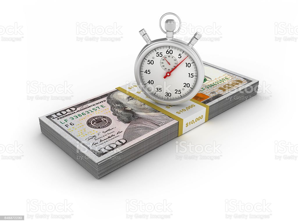 One Hundred Dollars Stack with Stopwatch stock photo