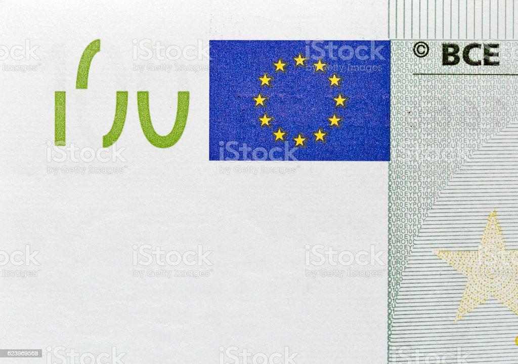 One hundred Euro banknote closeup stock photo