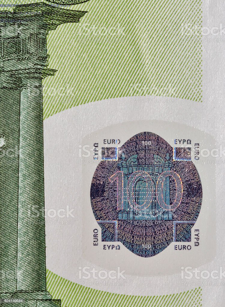 One hundred Euro banknote closeup stock photo