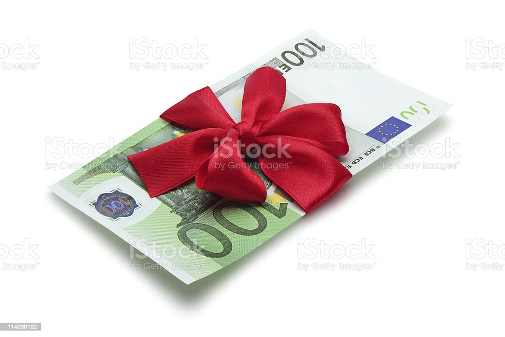One hundred euro banknote with red bow. stock photo