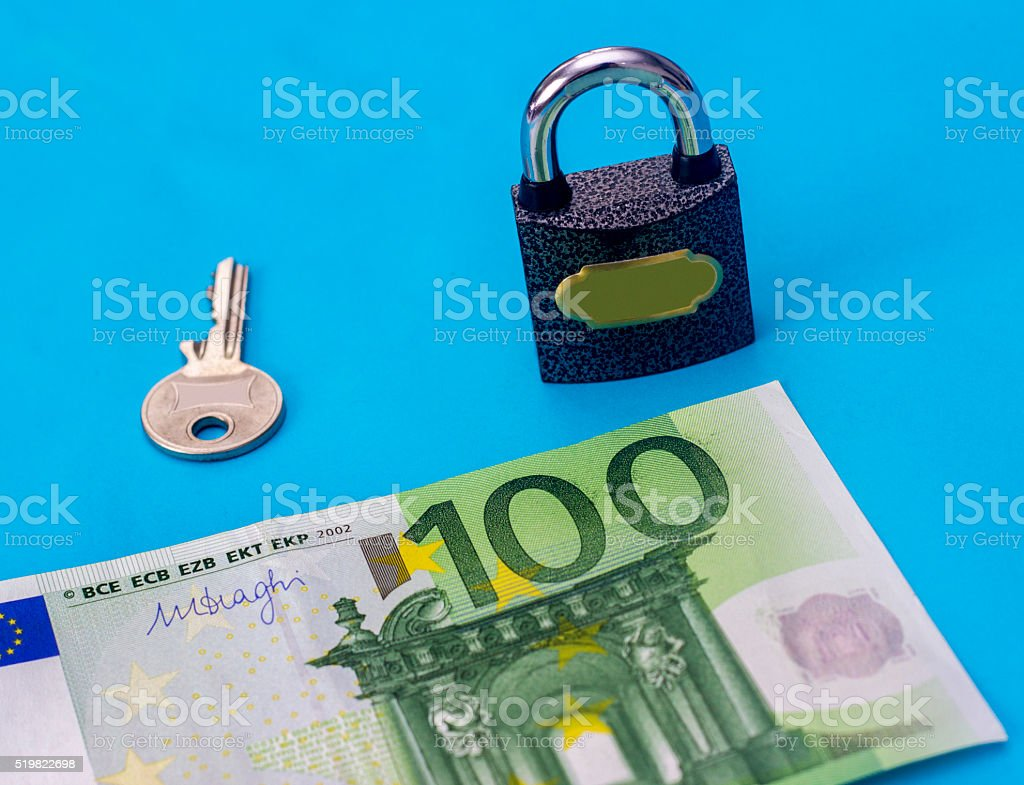 One hundred euro banknote with security equipments stock photo