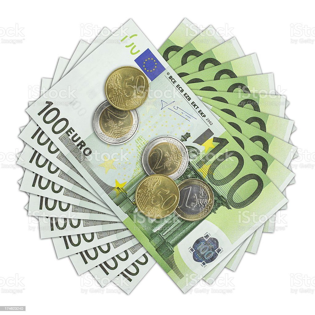 One hundred Euro bill and coins royalty-free stock photo