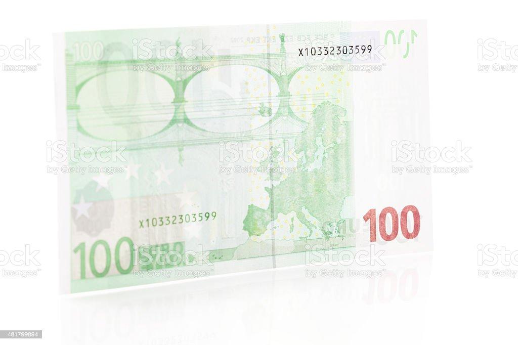 One Hundred Euro Note - Back stock photo