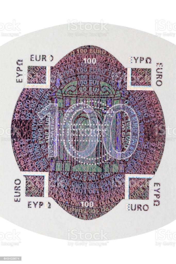 One hundred euro note hologram stock photo