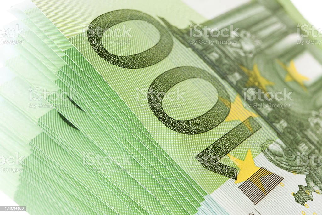 One hundred euro stack detail royalty-free stock photo