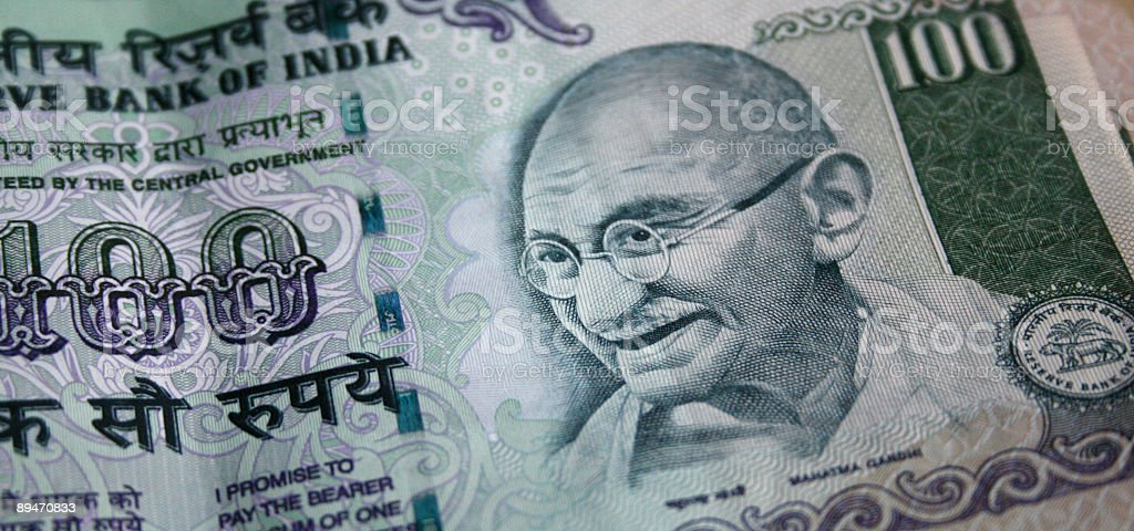 One Hundred Indian Rupees stock photo