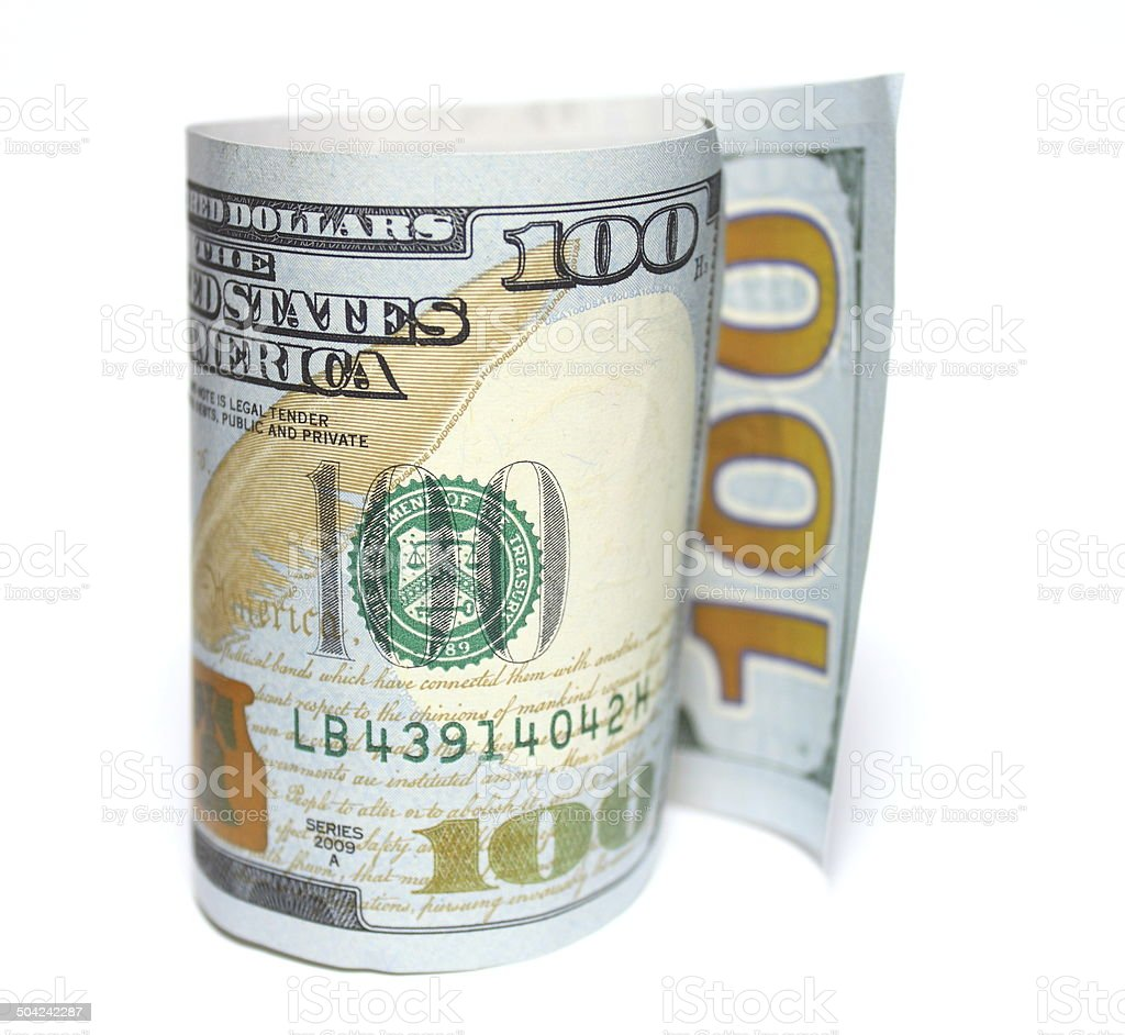 One hundred new dollars closeup on white background stock photo