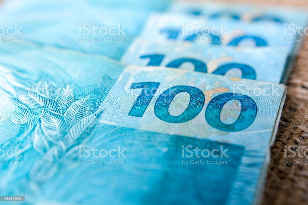 one hundred real  100,00 stock photo