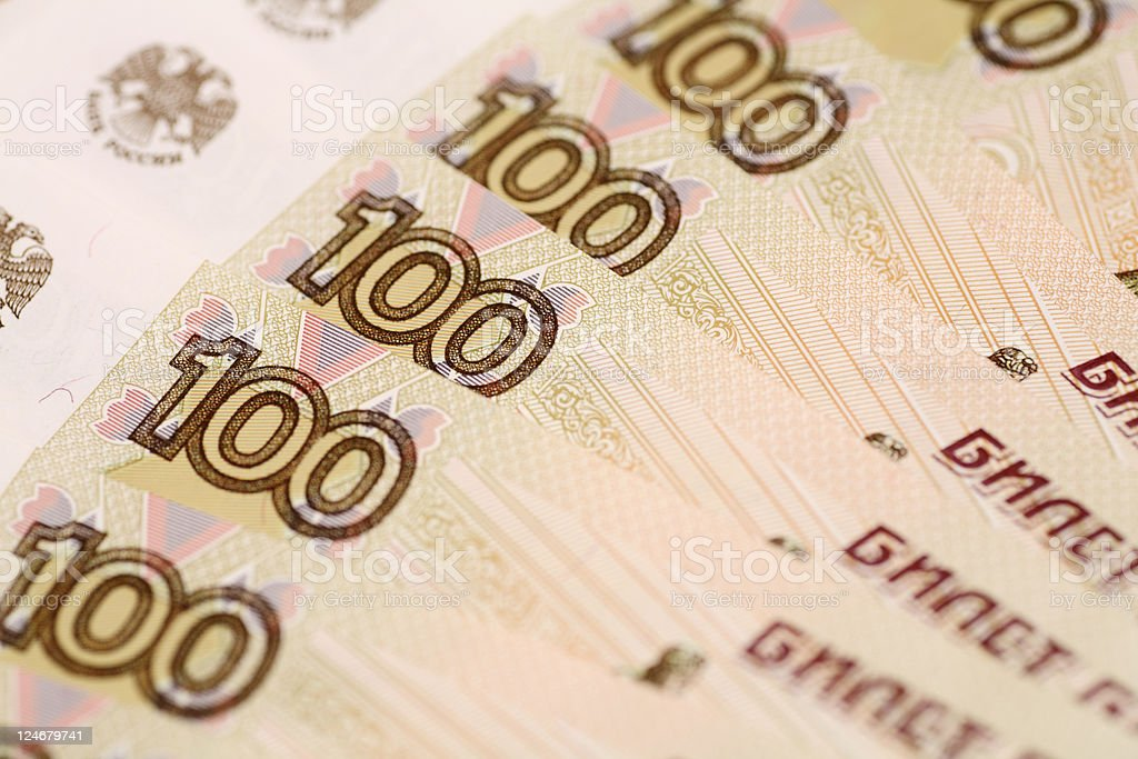 One hundred rubles background royalty-free stock photo