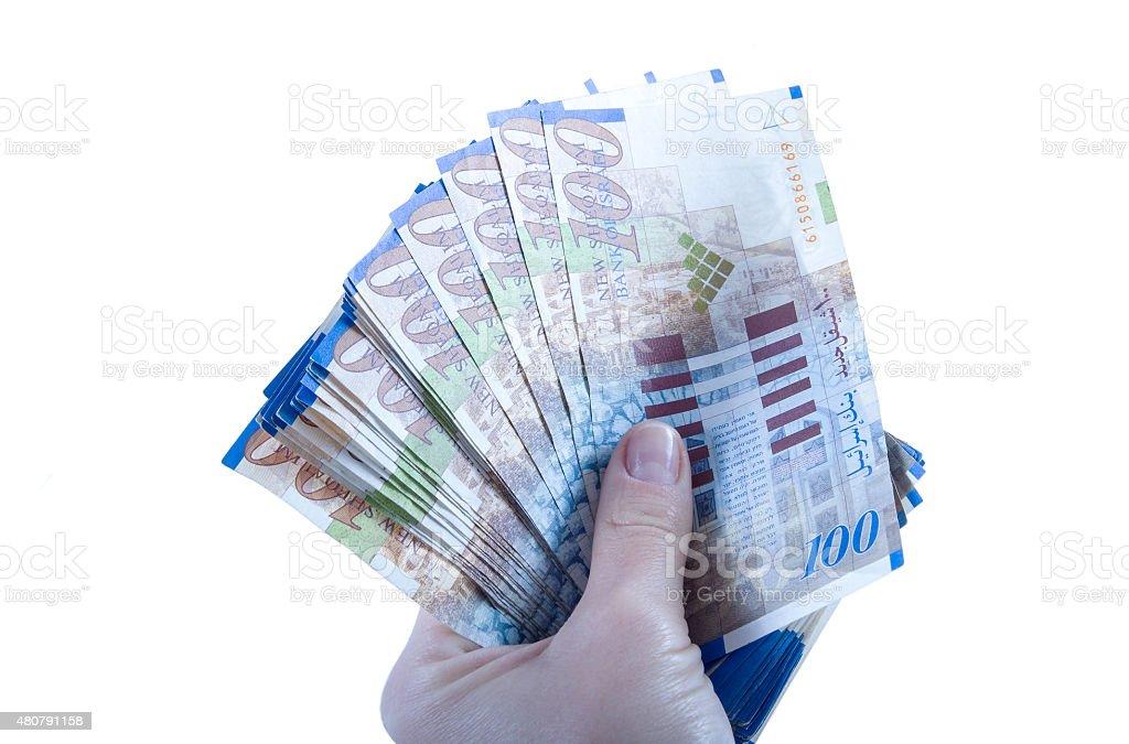 One hundred shekel bank notes . stock photo