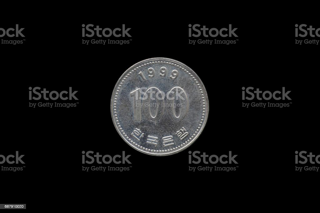 One hundred south korean wons coin year 1999 isolated on back background. stock photo
