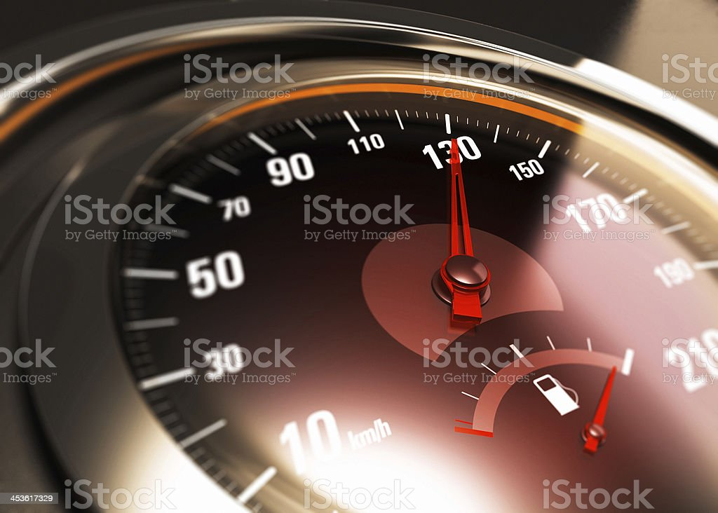 One Hundred Thirty, 130 Km per Hour, Car Speed Concept stock photo