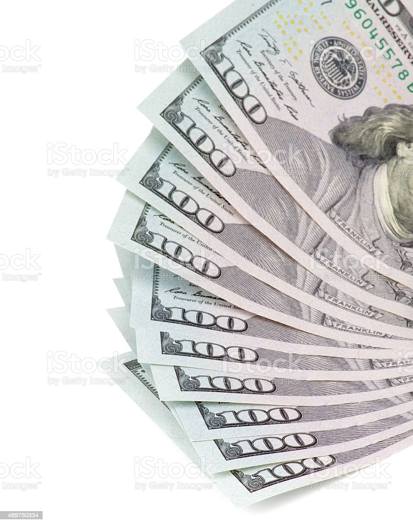 One Hundred US Dollar Banknotes stock photo