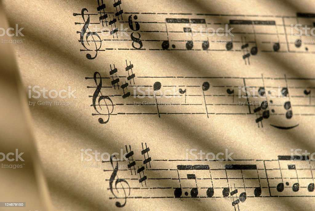 One Hundred Year Old Sheet Music royalty-free stock photo