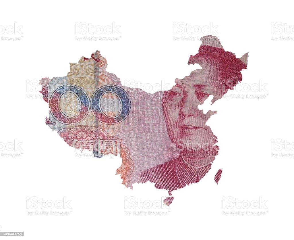 One hundred yuan China map stock photo