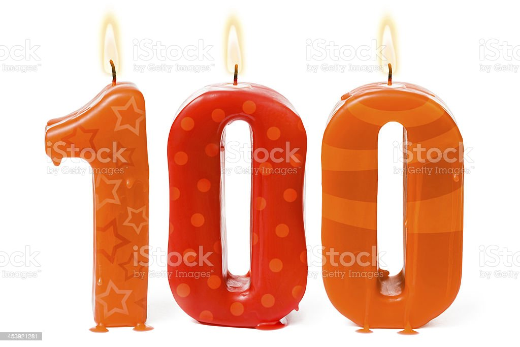One hundredth 100th birthday or anniversary candles stock photo