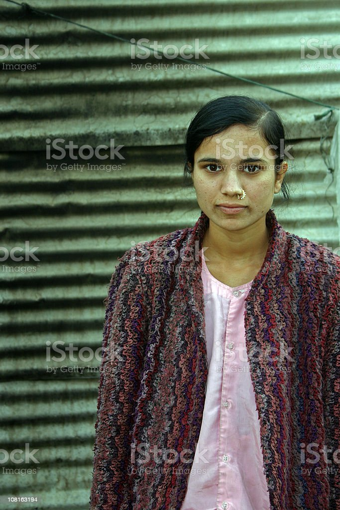 One Indian Asian Girl People Vertical Portrait Rural Poverty stock photo