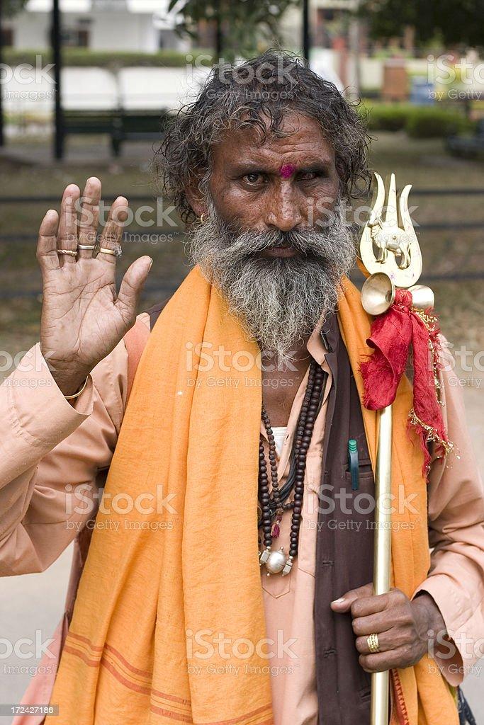 One Indian Asian Hindu Sadhu Brahmin Adult Male People Vertical stock photo