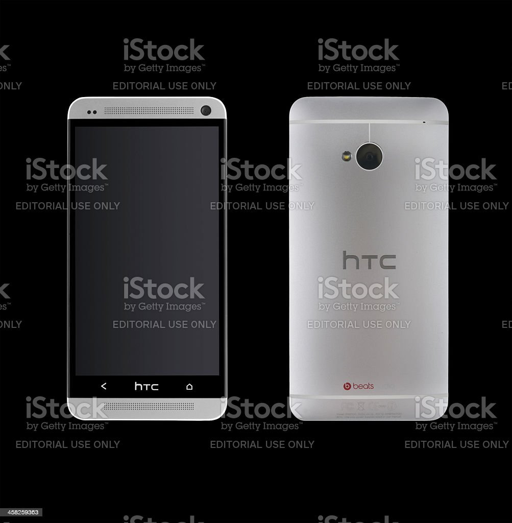 HTC One isolated on black background stock photo