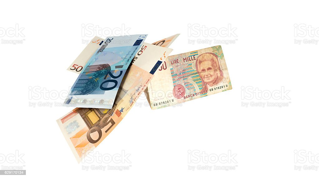 One Italian banknote is stronger than some Euro banknotes stock photo