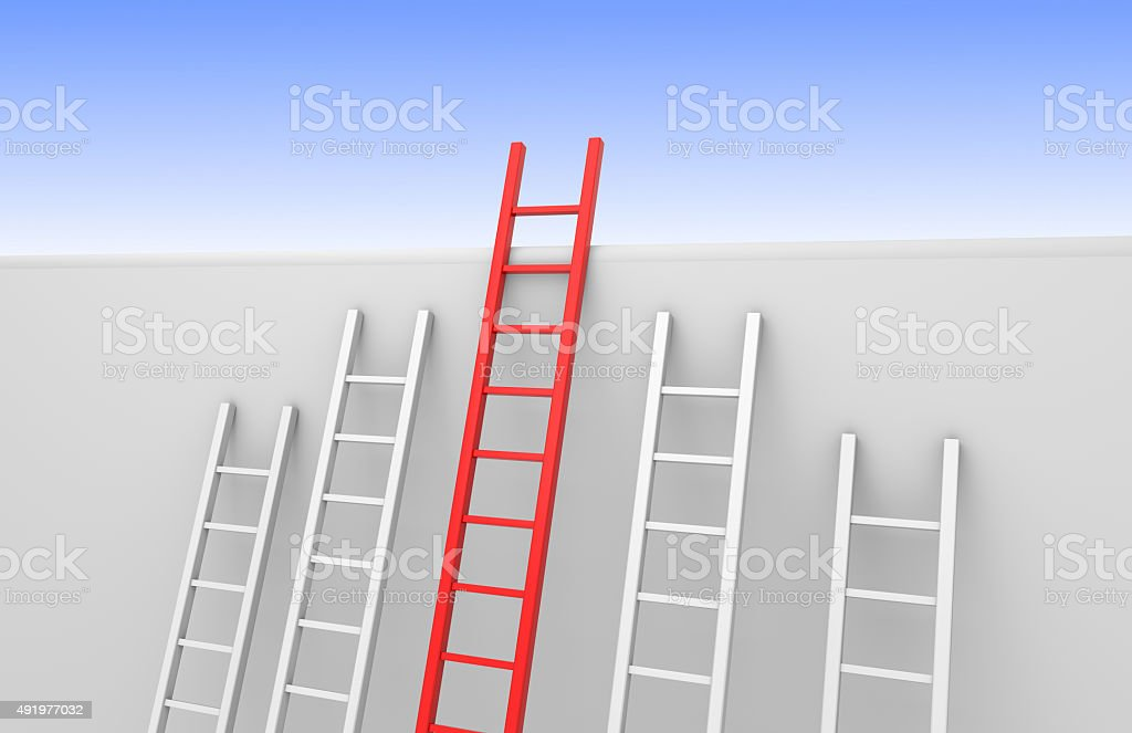One ladder reaches the top stock photo