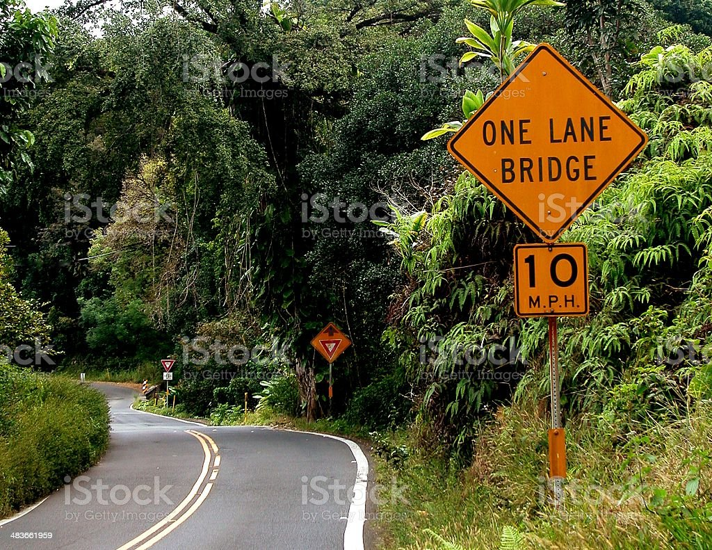 One Lane Bridge on the Road to Hana stock photo