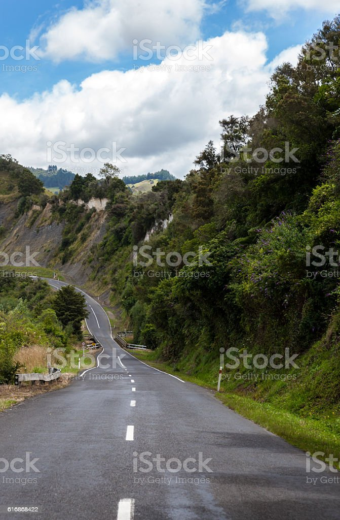 one lane road in new zealand stock photo