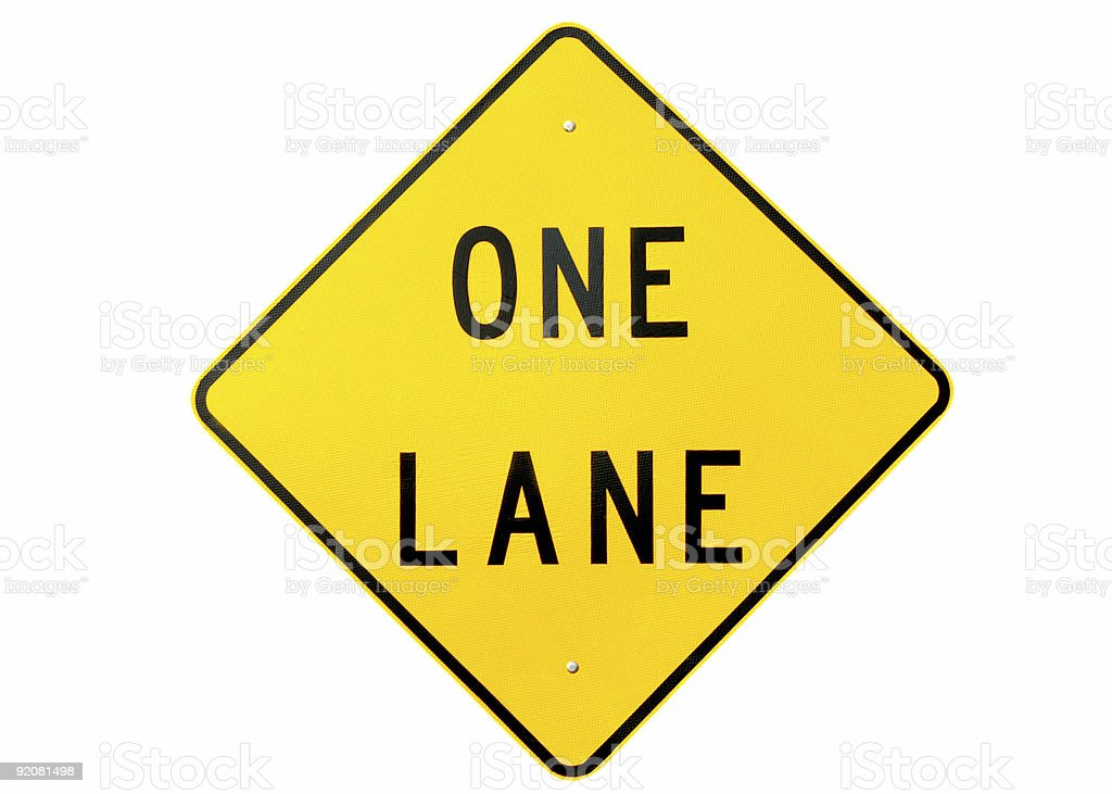 One lane sign royalty-free stock photo
