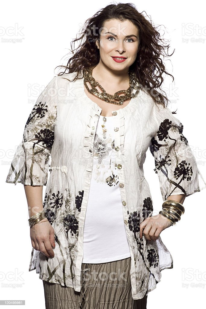 one large build caucasian woman spring summer fashion stock photo