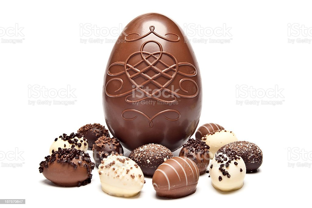 One large chocolate egg surrounded by little chocolate eggs stock photo