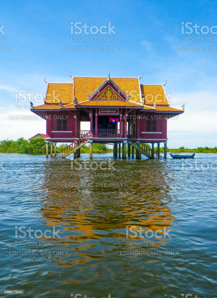 One Large Stilt House Standing on Tonle Sap Lake, Cambodia stock photo