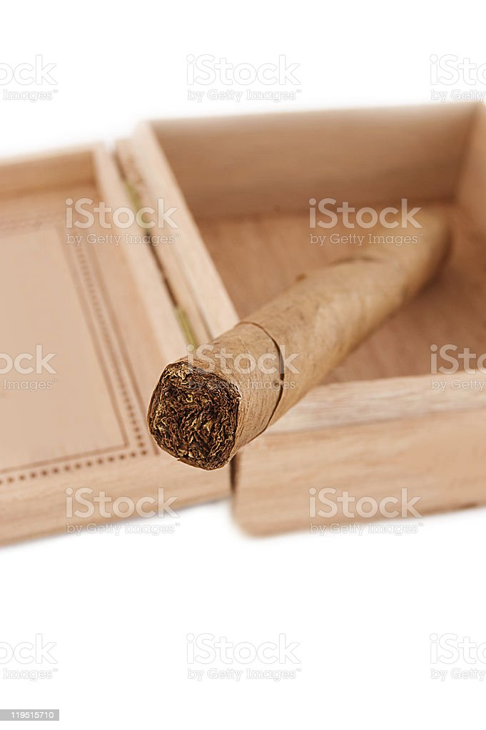 One left cigar in wooden box stock photo
