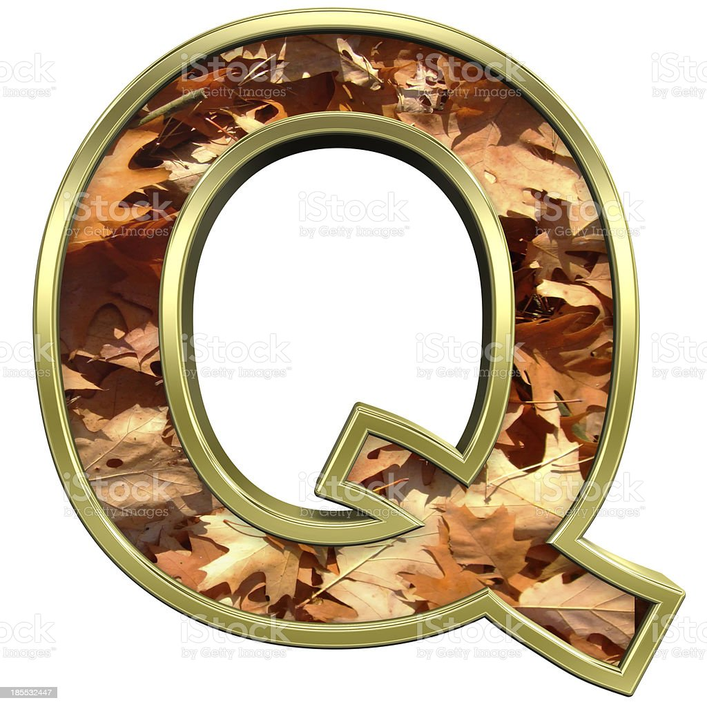 One letter from autumn gold alphabet set royalty-free stock photo