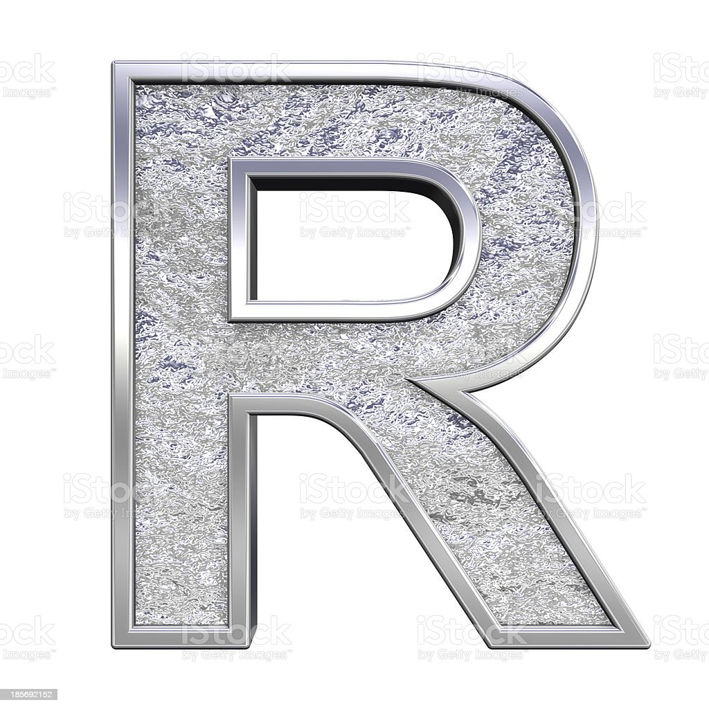 One letter from chrome cast alphabet set royalty-free stock photo