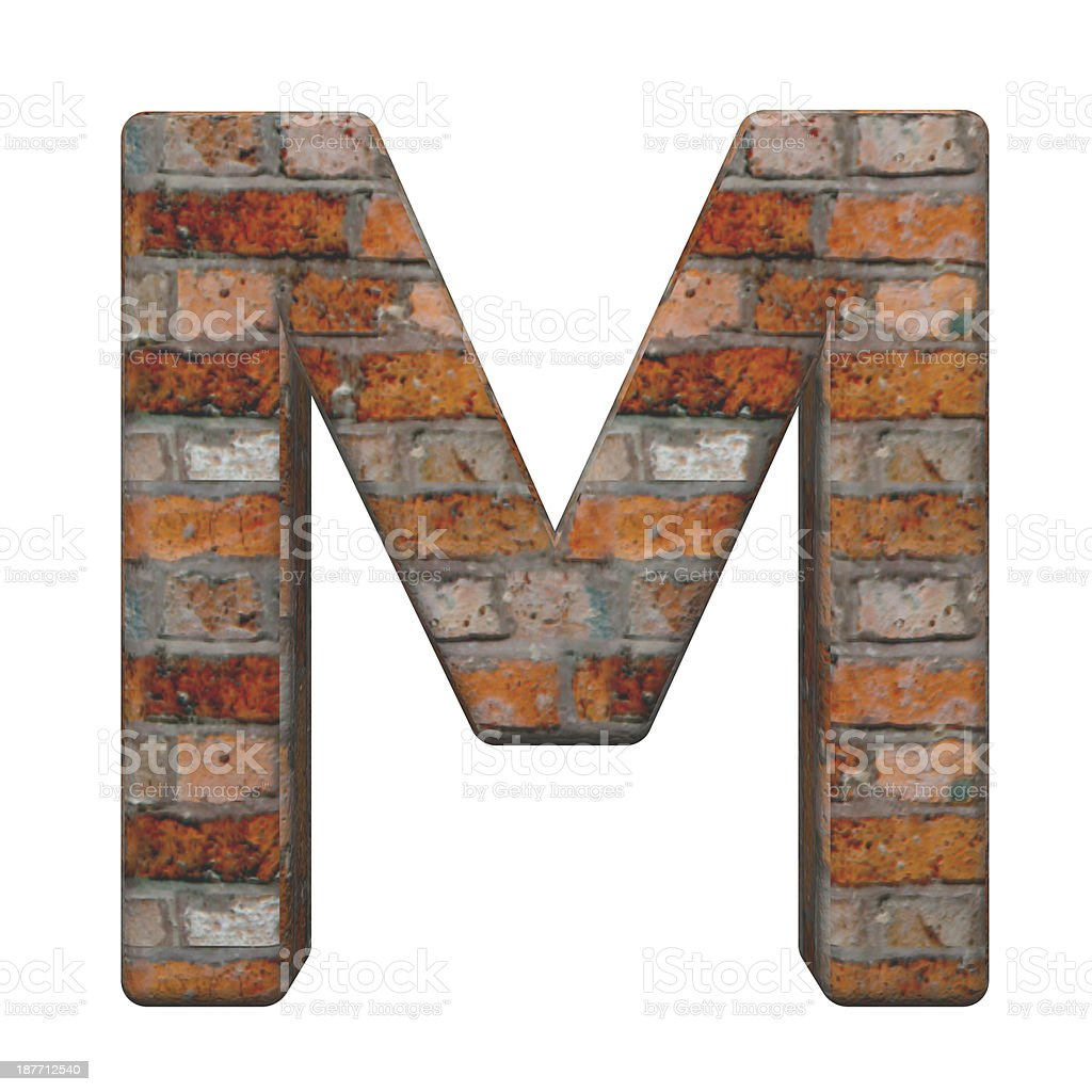 One letter from old brick alphabet set royalty-free stock photo
