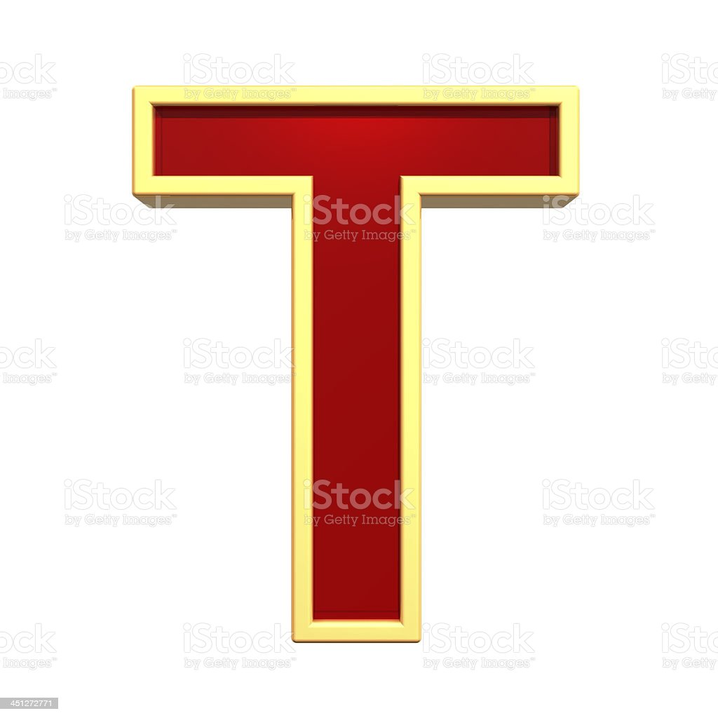 One letter from ruby with gold frame alphabet set royalty-free stock photo