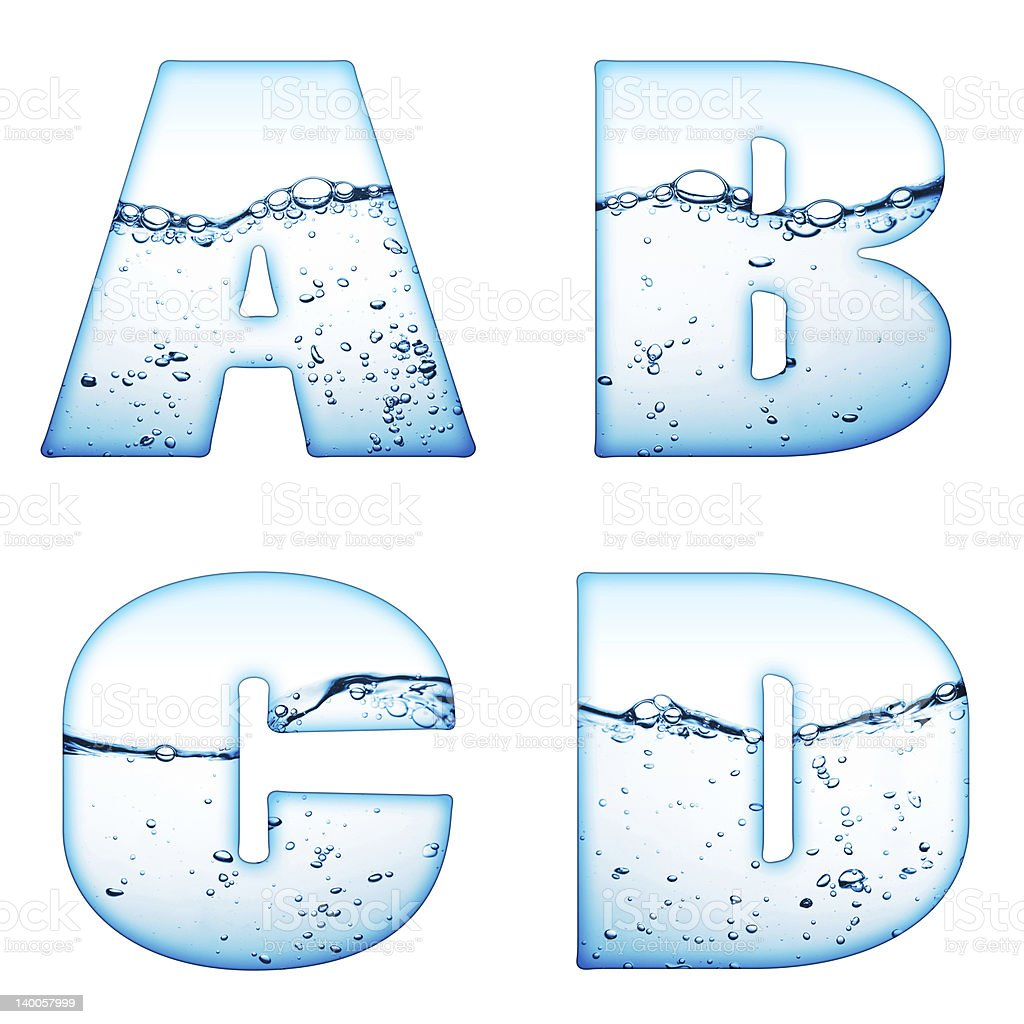 One letter of water wave alphabet royalty-free stock photo