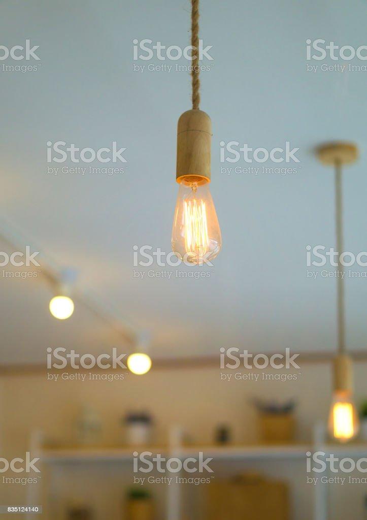 One Light bulb and bokeh light. stock photo