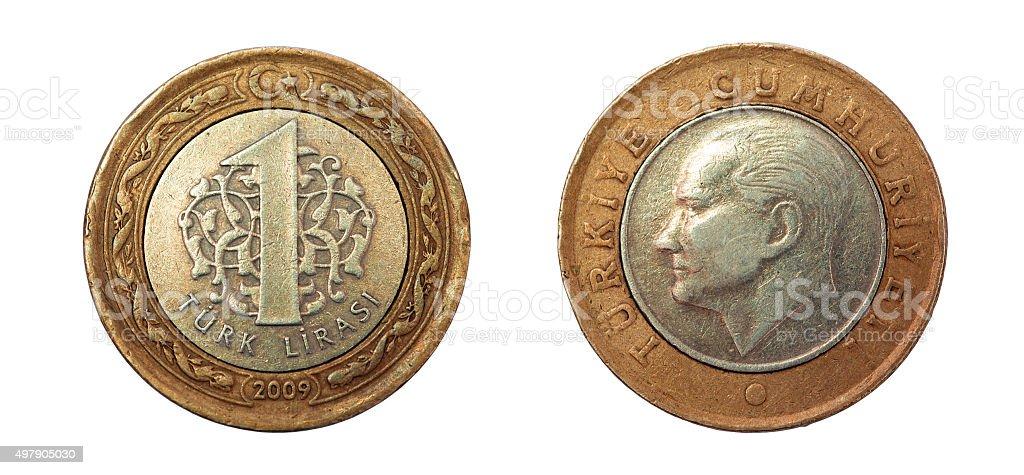 One lira coin. Turkey. 2009 stock photo