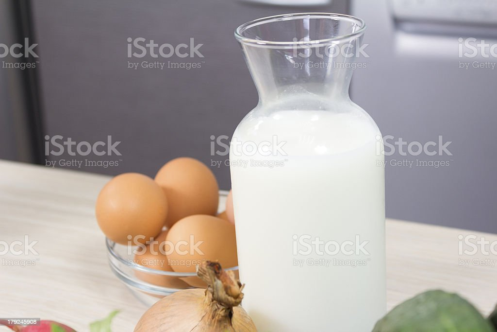 One liter of fresh milk and  eggs royalty-free stock photo