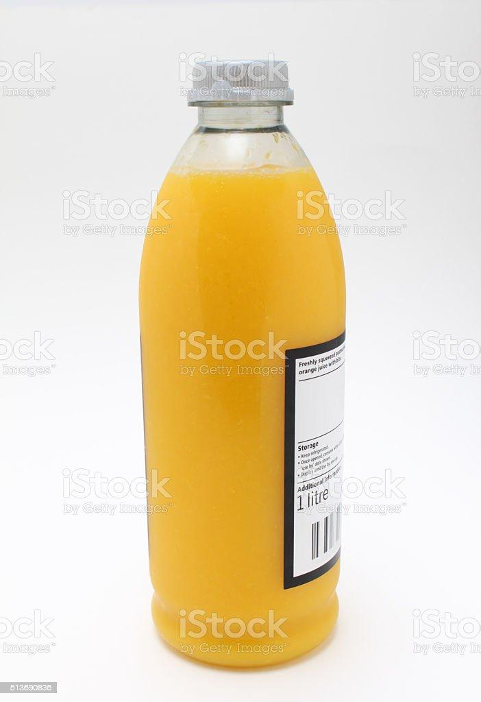 one litre plastic bottle of squeezed fresh orange juice stock photo