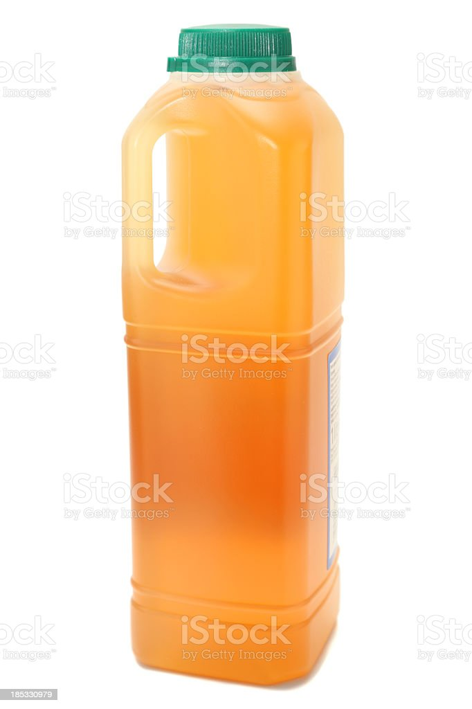 one litre transparent plastic carton apple juice from concentrate isolated stock photo