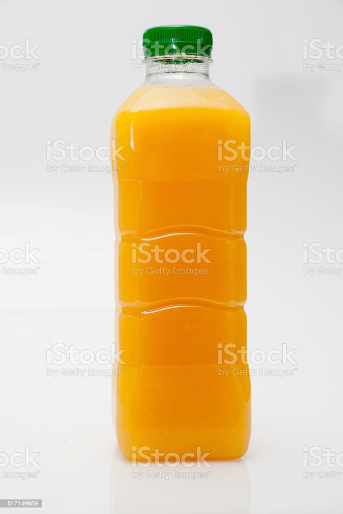 one litre transparent plastic carton fresh orange juice isolated stock photo