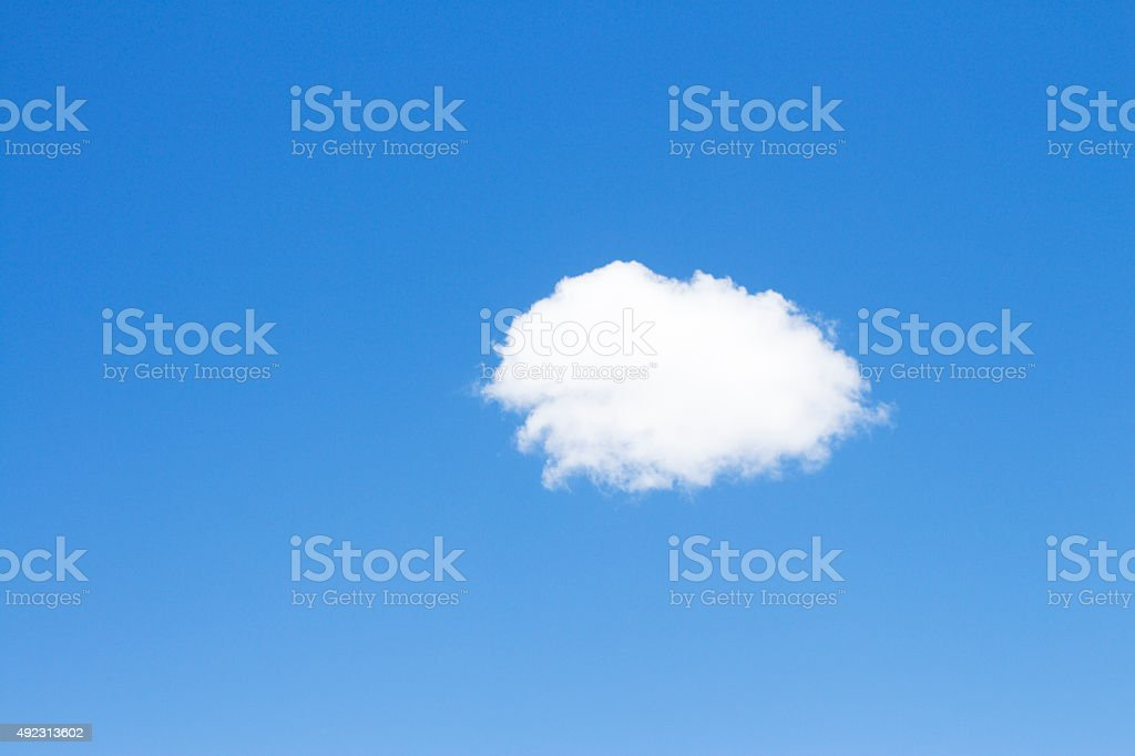 One Lonely Little Cloud in Blue Clear Sky Sunny Atmosphere stock photo